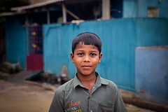 Portrait of Indian boy on the street in fishing village