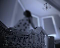 Patiently Waiting (matthewblackwood10) Tags: patiently waiting baby crib cot nursery pregnant wife indoor bedroom window weave basket light grey black white bokeh blur focus