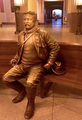 Expecting LOTS of visitors -- this morning (JFGryphon) Tags: teddyroosevelt americanmuseumofnaturalhistory greeter officialgreeter statue teddy hbm