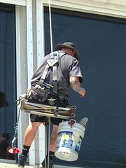 Window Cleaner Man (LarryJay99 ) Tags: man men guy guys dude male studly manly dudes handsome hats legs smile sunglasses working work workman windowwashers virile swinging hanging workmen bulges bulging masculine