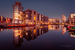 Royal Armouries Museum (tbnate) Tags: leeds westyorkshire yorkshire city cityscape royal armouries museum royalarmouries royalarmouriesmuseum water river dock aire riveraire reflection tbnate outdoor outside evening d750 nikon nikond750 tamron tamron1530 ultrawideangle ultrawide bluehour bluesky cloudlesssky sky skyline skyscraper boats longexposure clarence clarencedock