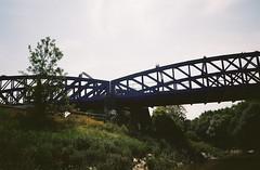 Railway bridge (knautia) Tags: riveravon bristolferry bristol england uk july 2018 film ishootfilm olympus xa2 olympusxa2 kodak kodacolor 200iso nxa2roll37 river avon ferry bridge railwaybridge stphilips