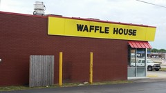 Waffle House - Route 66 (Adventurer Dustin Holmes) Tags: route66 us66 missouri66 lebanonmo lebanonmissouri missouri wafflehouse business businesses 2018 lacledecounty exterior building sign outdoor guardposts guardpoles brickbuilding brickwall redawning window awning