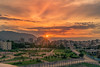Vratsa Sunset (igaitansky) Tags: vratsa sunset landscape fire sky last rays light urban town garden mountain building block fence golden hour hdr bulgaria 2018 sony alpha6300