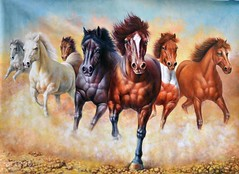 Mustangs, Art Painting / Oil Painting For Sale - Arteet™ (arteetgallery) Tags: arteet oil paintings canvas art artwork fine arts field grass meadow sky summer landscape spring farming cloud outdoor horizon countryside rural clouds sunny outside environment country day outdoors plant freedom silhouette sunlight season land natural scenery animal ranch scene bright horse pony animals landscapes wildlife fields orange brown paint