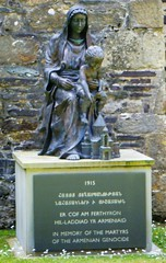St. David's Cathedral, Pembrokeshire, Wales (rossendale2016) Tags: grounds lady statue pembrokeshire wales south cathedral davids st victims martyrs memory genocide armenian