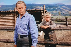 "Shane (Alan Ladd) and his young fan, Joey Starrett (Brandon deWilde), ""Shane"" (1953) (lhboudreau) Tags: movie film motionpicture western wildwest cowboy westernhero classicwestern alanladd paramountpicture paramount paramountpictures 1953 color americanwest wyoming people screenshot gunfighter shane joeystarrett joey brandondewilde outdoor outdoors frontier americanfrontier landscape mountain mountains fence range prairie grass farm sky youngster building wood log logs"