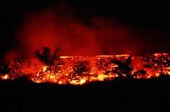 Night & Day (aloha_bigmike) Tags: mikecaputo olympusxa velvia50 35mm kilaueaeruption firefighter