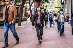 San Francisco 2018 (burnt dirt) Tags: sanfrancisco california vacation town city street road sidewalk crossing streetcar cablecar tree building store restaurant people person girl woman man couple group lovers friends family holdinghands candid documentary streetphotography turnaround portrait fujifilm xt1 color laugh smile young old asian latina white european europe korean chinese thai dress skirt denim shorts boots heels leather tights leggings yogapants shorthair longhair cellphone glasses sunglasses blonde brunette redhead tattoo pretty beautiful selfie fashion japanese bag red brown blue
