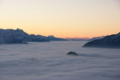 In harmony (natural illusions) Tags: seaofclouds twilight winter january snow clouds pentax k200d rawtherapee fog alps landscape slovenia europe lb1415 allrightsreserved nature mountains peace stillness interesting sea island balance sky harmony wow dream zima