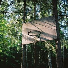 Lost in the forest (belousovph) Tags: mediumformat analog film portra kodak 120 zenzanon bronica light auto russia minimal lights rims streetball sport atmospheric forest hoop portra160 lonesomerims