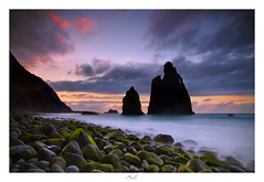 The Guardians (Max Angelsburger) Tags: madeira island atlantic ocean bolder summer seascape waves crashing weather cliffs tides elements wind theguardians ribeiradajanela bolders moss water longexposure colorful sky volcanic sea rock needles