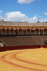 Plaza de toros de la Maestranza, Seville, Spain (mattk1979) Tags: seville sevilla city buildings spain europe bull ring fighting plazadetoros maestranza sun outdoors sky clouds