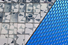 Ryerson College, Toronto, Ontario (duaneschermerhorn) Tags: toronto ontario canada city urban downtown architecture building skyscraper structure highrise architect modern contemporary modernarchitecture contemporaryarchitecture abstract blue pattern closeup