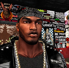 Xio in Clubhouse 5-17-2017_001 (XioJester3D) Tags: xio jester posters wall punk metal rap black grunge rock club house 3d avatar