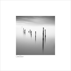 Jetty posts (Charlie Pragnell) Tags: minimalist fineartphotography fineart blackwhitefineartphotography longexposure longexposuretimes squareformat blackwhite northwales wwwcharlespragnellphotographynet