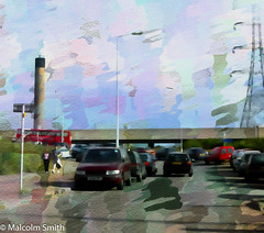 Cooks Ferry (M C Smith) Tags: pentax istd oil painting cooksferry edmonton pylon bridge road cars traffic van bus red sign people walking pavement sky lamps brown curve chimney grey white trees grass green