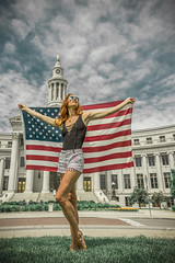 Land of the Free (Luv Duck - Thanks for 13M Views!) Tags: select ali redhead usa denver cutoffs usflag denvercolorado downtowndenver civiccenterparkdenver patriotic beautifulgirl photoshoot model