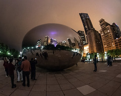 CloudGate_114970 (gpferd) Tags: bean building chicago cloudgate construction fisheye landmark lights litlights night people reflection illinois unitedstates us
