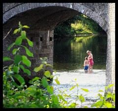 Hot Summers Day (Develew) Tags: crickhowell river bridge usk motherandchild motherandson summersday swimming paddling powys breconbeacons nationalpark sunnyafternoon sundayafternoon wales cymru