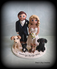 Wedding Cake Topper (Trina's Clay Creations) Tags: art sculpture weddingcaketopper wedding whimsical weddingcake weddingdecor caketopper customcaketopper clayfigure claycaketopper trinasclaycreations trinaprenzi topper groomscake polymerclay personalized dog cat