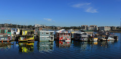 Floating homes, Fishermans Wharf, Victoria, British Columbia, Canada (Den Gilbert) Tags: alaska america bay beach clouds coast colour canada harbour jetty landscapes ocean outdoors photography panoramic quays sea sky scenic shore usa victoria wharf fishermans british columbia reflections floating