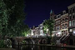 Utrecht, The Netherlands (Adrià Páez) Tags: utrecht the netherlands nederland europe city night canal water long exposure bridge trees buildings houses sky architecture stairs