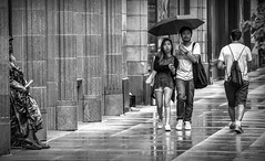 Rainy Chicago.... (Kevin Povenz Thanks for all the views and comments) Tags: 2018 july kevinpovenz illinios chicago windycity street streetphotography streetportrait blackandwhite bw canon7dmarkii sigma24105art sigma downtown rain rainy wet weather umbrella people man woman male female boy girl sidewalk city bigcity walk walking standing couple reflection
