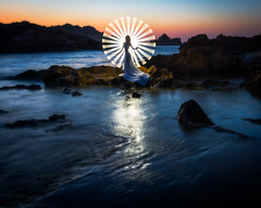 Tube light painting 3 | Menorca, Spain (NicoTrinkhaus) Tags: lightpainting tubelight menorca balearic balearicislands photopills camp evening waterscape rocks spain island lighttrails