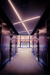 Nothing personal - it's just business (nixter) Tags: 14mm architectural building landmark architecture business downtown elevators lights lines lookup nebraska omaha patterns