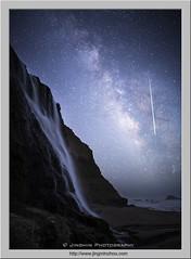 Waterfall, Milky Way and Shooting Star (Virtual Reality in film) Tags: pointreyesnationalseashore milkyway stars night evening shootingstar waterfall alamerefall pacificocean coast
