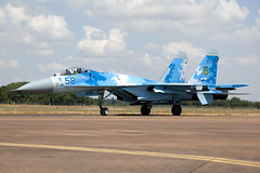 Blue58_SukhoiSu-27P_UkrainianAF_FFD_Img01 (Tony Osborne - Rotorfocus) Tags: sukhoi su27 ukrainian air force ukraine royal international tattoo riat raf fairford 2018 flanker su27p