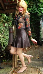 Coordinating Brown (Amber :-)) Tags: brown leather skirt tgirl transvestite crossdressing