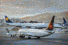 air canada / lufthansa departure 10,000 image mosaic (pbo31) Tags: bayarea california nikon d810 color june 2018 boury pbo31 mosaic collage sanfranciscointernational sfo airport plane aircanada 737 boeing taxi lufthansa a340 airbus departure gate terminal aviation flight travel sanbruno sanmateocounty
