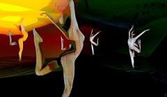 Echo of life / Artis: Mistero Hifeng (Bamboo Barnes - Artist.Com) Tags: misterohifeng secondlife art installation surreal dancer figure virtualart digitalart light shadow black green yellow red vivid bamboobarnes