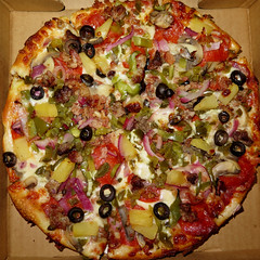 Extra Special Steve's Special (Coyoty) Tags: southwhitneypizza hartford connecticut ct pizzeria pizza stevesspecial extra special favorite pepperoni peppers onions mushrooms sausage meatballs olives bacon pineapple jalapeño mozzarella cheese tomato sauce squareformat spicy square hot hotpeppers red green black brown yellow round circle food crust meat