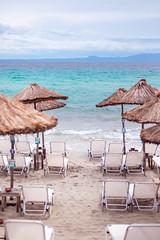 greece (thethomsn) Tags: greece beach sunshade sea ocean view travel holiday europe holidays sandy sunlounger cloudy