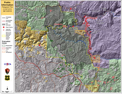 Ferguson Fire Map, 13 August 2018 (sjrankin) Tags: 14august2018 edited map fire wildfire california northerncalifornia usfs unitedstatesforestservice sierranevada fergusonfire yosemitevalley yosemite yosemitenationalpark perimeter firelines 20180813083106558cdt 1839mb large