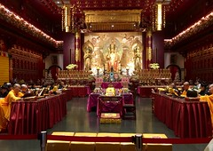 Ghost month - Buddha Tooth Relic Temple (cattan2011) Tags: 新加坡 tradition culture monks traveltuesday travelphotography travelbloggers travel singapore chinatown buddhatoothrelicstemple buddhism temple portrait landscapephotography landscape