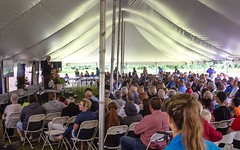 Addressing the crowd (The Promise FM) Tags: eaglevillage foundersday 50thanniversary hersey michigan