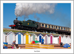 GWR Prairie And Beach Huts (flatfoot471) Tags: 18125sigma 2016 devon england goodringtonsands greatwesternrailway gwr262prairie5542 july normal paignton rail steam summer unitedkingdom gbr