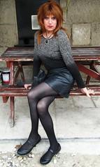 Outside an Inn (Amber :-)) Tags: black leather mini skirt tgirl transvestite crossdressing