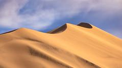 Eureka Dunes (zachgeek) Tags: camping eurekadunes sand landscape desert sanddunes deathvalleynationalpark clouds bluesky california nationalparks scenic golden usa yellow dunes deathvalley