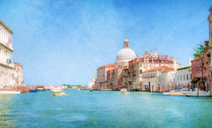 Grand Canal - Textured (byron bauer) Tags: byronbauer venice italy boat water sea canal lagoon harbor church building blue sky clouds cityscape landscape texture painterly topaz simplify bright light sunny