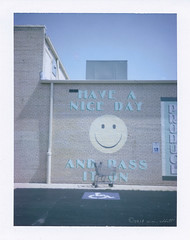 Have A Nice Day (ilovecoffeeyesido) Tags: haveaniceday tischlersfinerfoods brookfieldil mural grocerycart peelapartfilm analog polaroid vintagecamera fujifp100c film fujifilm polaroidcolorpackiiilandcamera smileyface