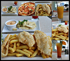 2018 Sydney: Seafood Lunch collage (dominotic) Tags: 2018 food lunch meal darlingharbour yᑌᗰᗰy cyrenrestaurant seafood fishchips saltpeppercalamariwithsweetchillicoconutsauce tropicalmocktail orangejuice tomatochorizoprawnpizza harbourside sydney nsw australia newsouthwales