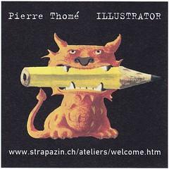Strapazin / Aufkleber (micky the pixel) Tags: werbung anzeige inserat advertisement aufkleber sticker strapazin magazin grafik kunst art comicart bleistift pencil illustrator pierrethomé schweiz