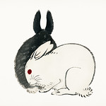 Black and white rabbits by Kōno Bairei (1844-1895). Digitally enhanced from our own original 1913 edition of Barei Gakan. thumbnail