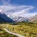 Boardwalk in the Hooker valley looking towards Mt Cook