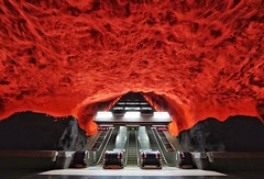 Solna Centrum (Douguerreotype) Tags: sverige steps red tube symmetry tunnel underground urban sweden stockholm tbana city escalator architecture stairs metro tunnelbana subway station